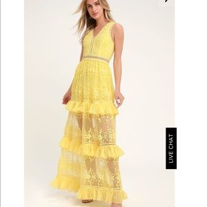 Yellow lace tiered maxi dress